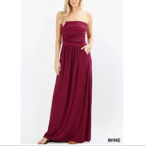 Strapless Maxi with Pockets - Wine